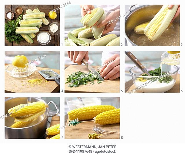 How to prepare corn on the cob with parsley mayonnaise