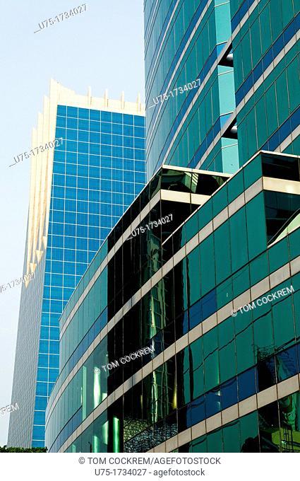 glass tower and Q-House building, Sathorn Road, Sathorn, Bangkok, Thailand