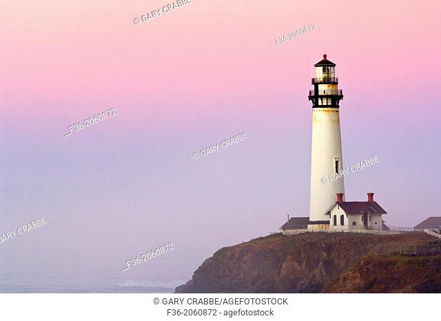 Pigeon Point Lighthouse at dawn, San Mateo County coast, California