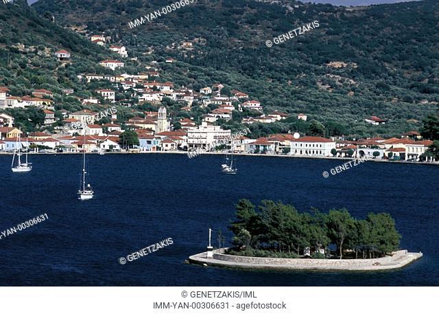Vathy, Lazzareto islet, sailboats Ithaki, Ionian Islands, Greece