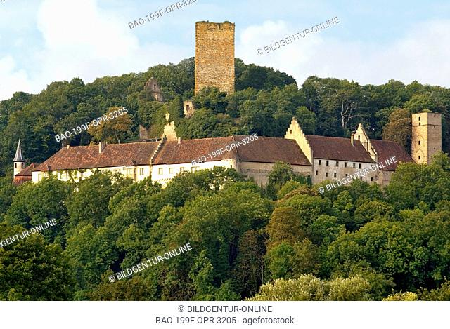 Image of the Castle Guttenberg at the River Neckar the German state of Baden Württemberg