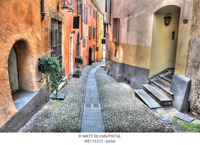 Old colorful stone alley in locarno ticino