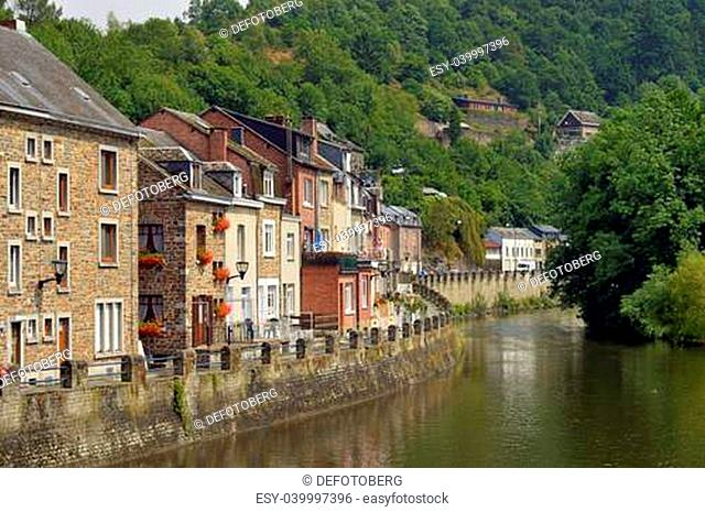 Houses beside the River Ourthe in La Roche-en-Ardenne, Belgium