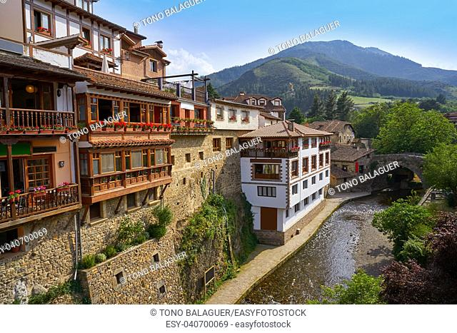 Potes river Quiviesa Deva a Cantabria village of Spain