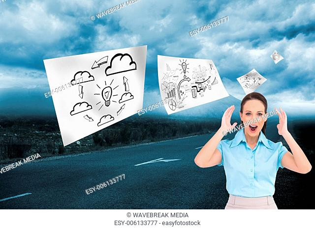 Composite image of surprised stylish businesswoman posing