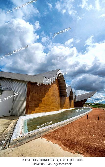 Ysios Winery designed by Santiago Calatrava after last flooding renovation. LaGuardia, Rioja Alavesa, Alava, Basque Country, Spain