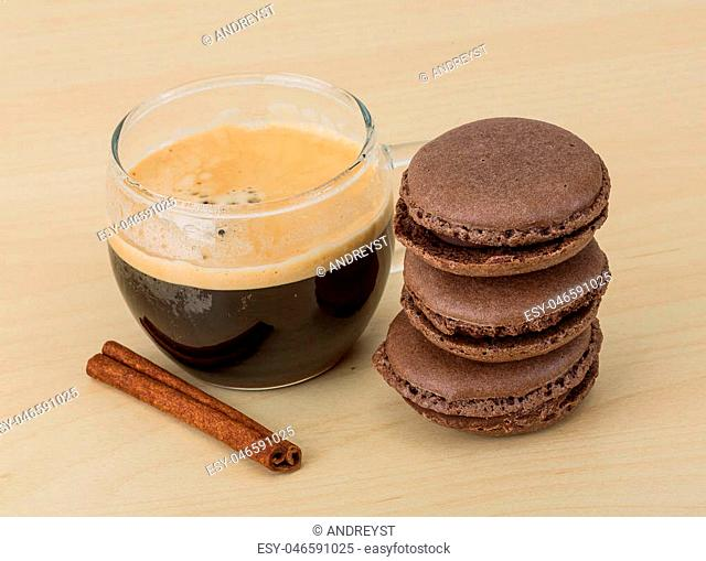 Coffee with chocolate macaroons - famous Franch delicous cookies