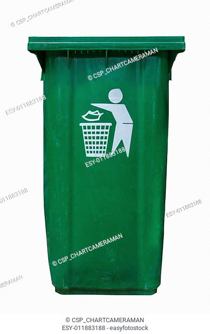 isolate green plastic bin on white background