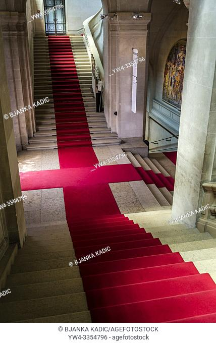 Interior with elegant stairs and red carpet, Art and history museum, the largest museum in the city, Geneva, Switzerland