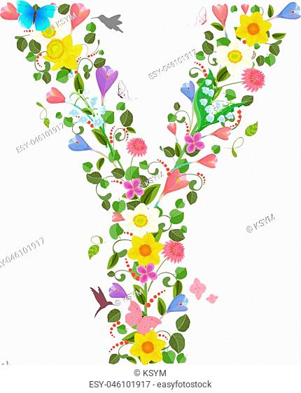 ornate capital letter font consisting of the spring flowers and flying hummingbirds. floral letter y