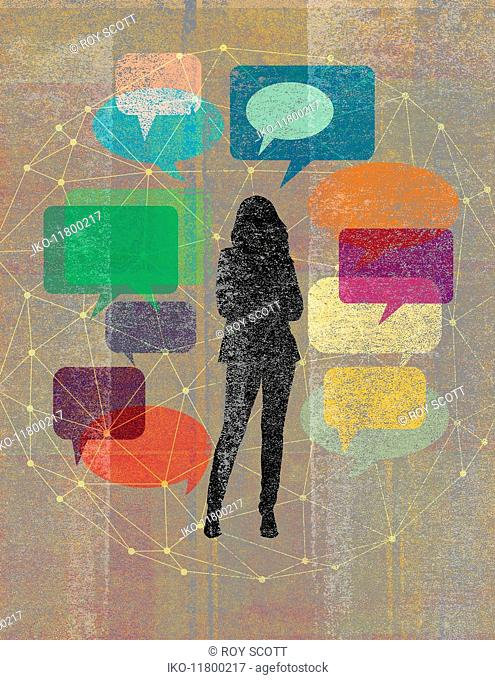 Young woman surrounded by network of speech bubbles