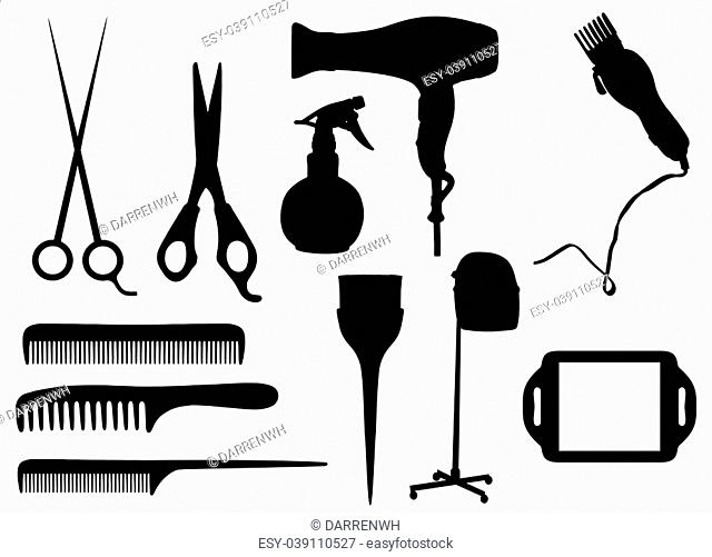 Isolated silhouettes of Hairdressing objects