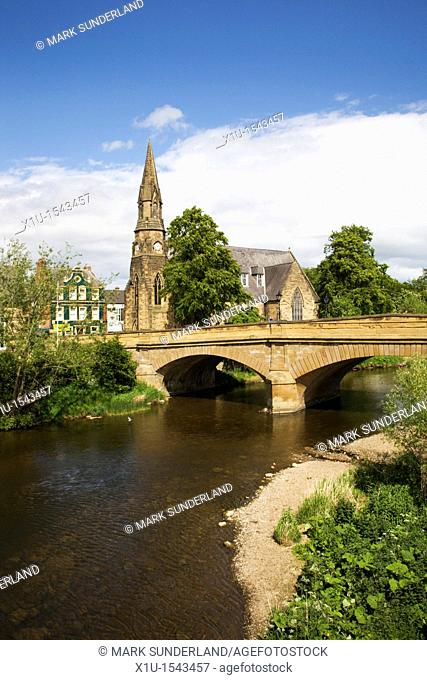 Telford Bridge and St Georges Church Morpeth Northumberland England