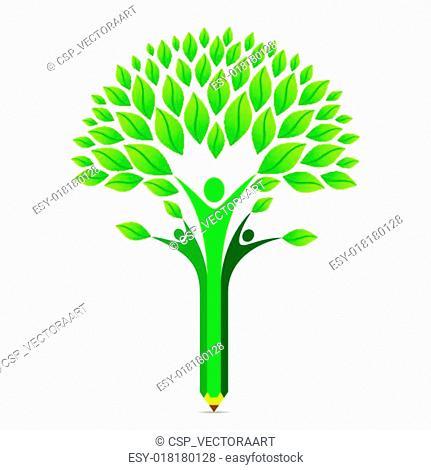 creative green pencil tree design