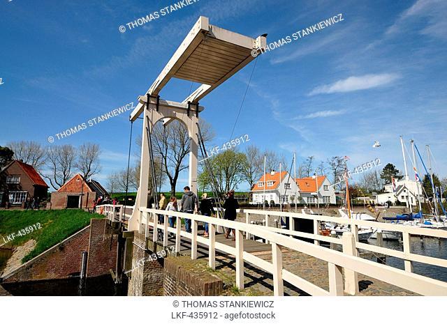Vertical-lift bridge in Veere on Zeeland, The Netherlands