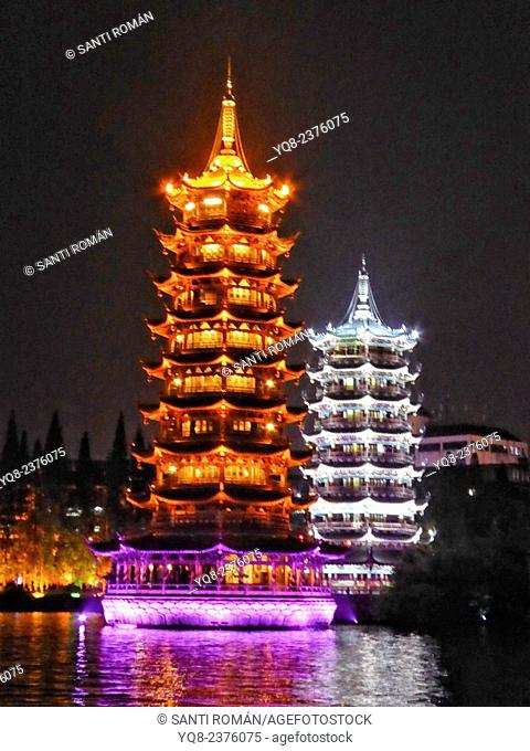 Sun & Moon Pagodas, night, Guilin, China