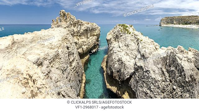 Ricadi, province of Vibo Valentia, Calabria, Italy, Europe. Cliffs on the beach of Riaci