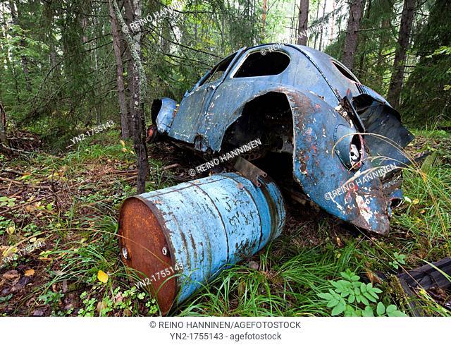 Abandoned Volkswagen Beetle in the forest  Location Suonenjoki Finland Scandinavia Europe