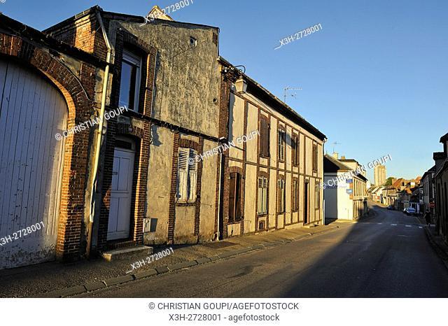 decrepit facades in the village of Brezolles, Natural region of Thymerais, department of Eure-et-Loir, Centre-Val de Loire region, France, Europe
