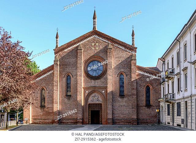 Romanesque San Cristoforo church facade, shot in a bright summer day at Vigevano, Pavia, Lombardy, Italy