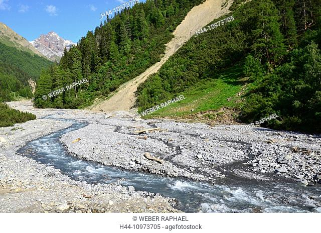 Switzerland, Europe, Graubünden, Grisons, national park, Engadine, lower engadine, Val Trupchun, Varusch, Chanel, S-chanf, ova da Trupchun, creek, brook
