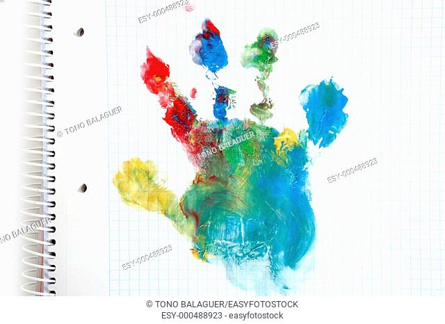 colorful hand paint print on a children school notebook