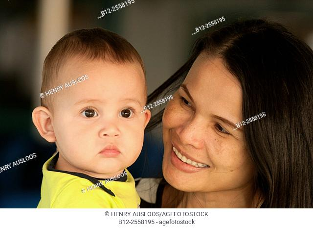Boy with the mom, portrait, Thailand