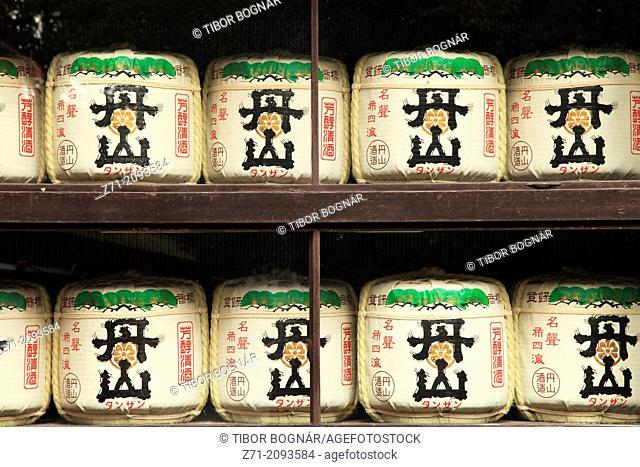 Japan, Kyoto, Shimogamo Shrine, sake barrels,