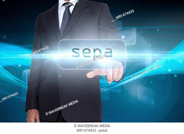 Sepa against abstract glowing black background