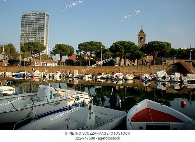 Rimini (Italy), the port-canal and the city's skyscraper
