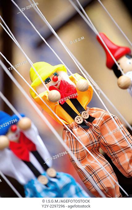 Clown puppets hanging