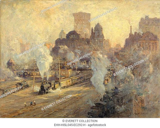 GRAND CENTRAL TERMINAL, by Colin Campbell Cooper, 1909, American painting, oil on canvas. The train yard of Grand Central Station during the ten year demolition...