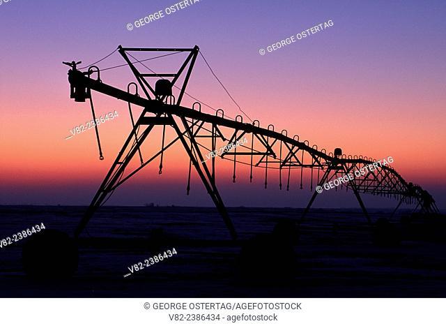 Irrigation equipment dawn, Brown County, Nebraska