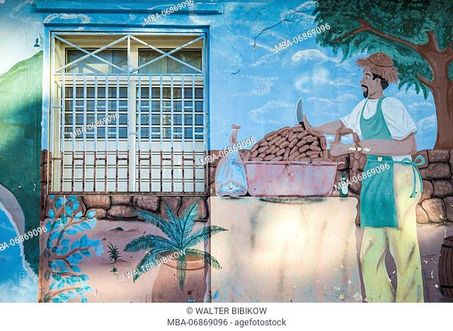 French West Indies, St-Martin, Marigot, mural at town market