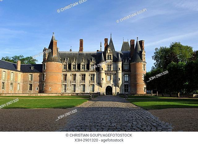 West facade of the Chateau de Maintenon, Eure-et-Loir department, Centre-Val de Loire region, France, Europe