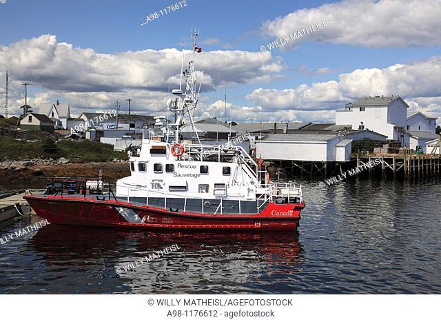 A Canadian Coast Guard lifeboat at Sambro Harbour near Halifax, Nova Scotia, Canada, North America Keywords: