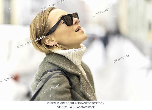fashionable German woman, in Munich, Germany