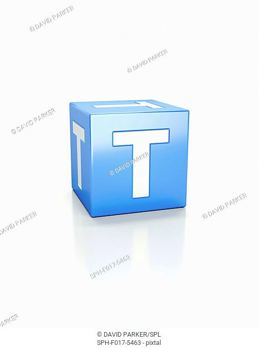 Blue cube with letter T
