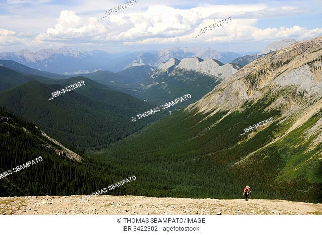 Female hiker in the Rocky Mountains