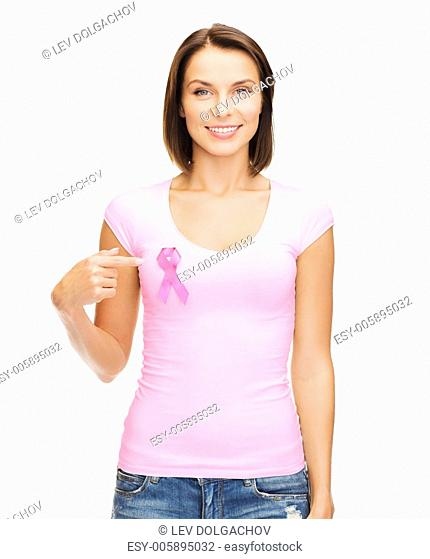 healthcare, medicine and breast cancer concept - woman in blank t-shirt with pink cancer ribbon