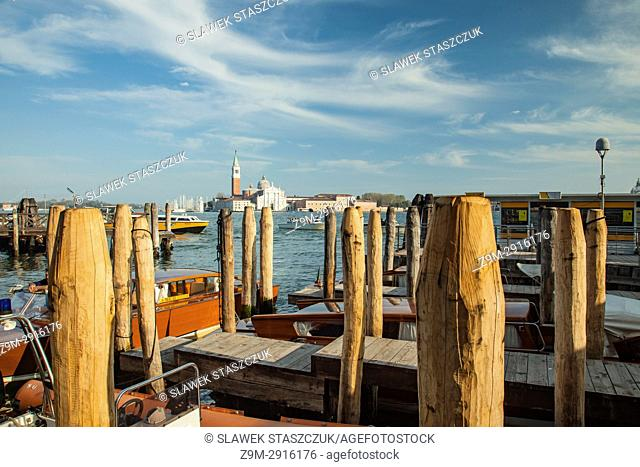 Jetties at San Marco basin in Venice, Italy