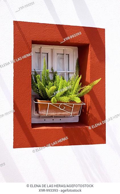 Red window. Denia. Alicante. Spain