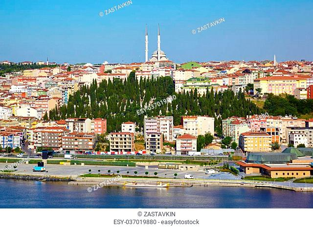 The view from the viewpoint on the Hill of Pierre Loti to the Golden Horn and Sutluce neighborhood in Istanbul, Turkey