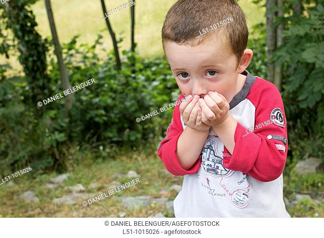 Boy eating wild cherries in Somiedo, Asturias
