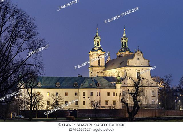Night at the Baroque Church on the Rock, Krakow, Poland
