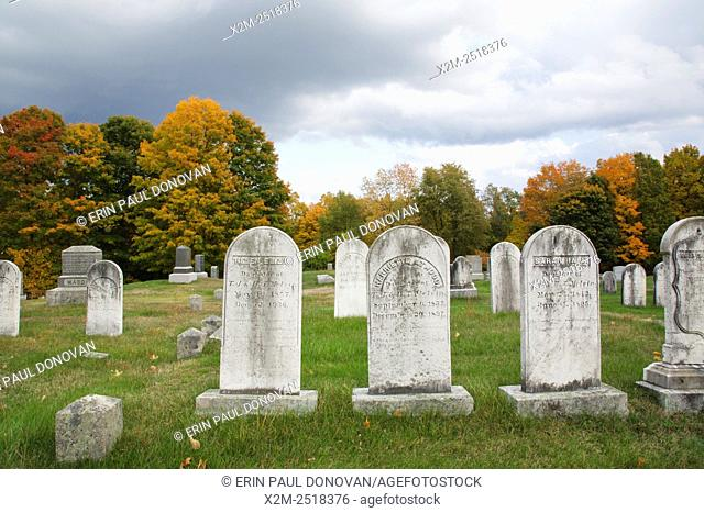Chester Village Cemetery in Chester, New Hampshire USA during the autumn months. This cemetery is listed on the National Register of Historical Places