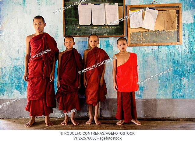 Novice monks at the school in the monastery, Myanmar