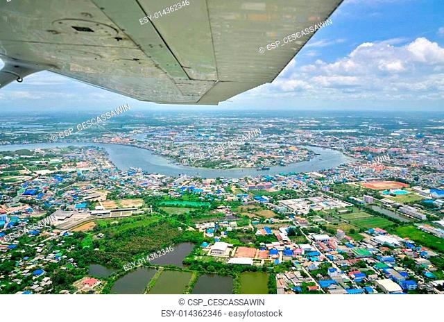Aerial view of a village in Samut Sakhon, Thailand
