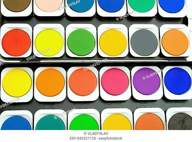Palette Watercolor paintbox background, Top view