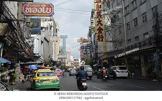 Thanon Yaowarat road at night in central Chinatown district of Bangkok Thailand. Yaowarat and Phahurat is Bangkok's multicultural district